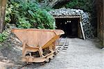mine trolley standing in front of the old gold mine Stock Photo - Royalty-Free, Artist: furzyk73, Code: 400-03930082