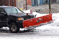 snow plow truck - Snow plow truck on a road during a snowstorm Stock Photo - Royalty-Freenull, Code: 400-03932608