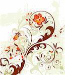 Grunge paint flower background, element for design, vector illustration