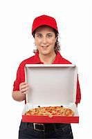 fat italian woman - A pizza delivery woman holding a hot pizza. Isolated on white Stock Photo - Royalty-Freenull, Code: 400-03939880