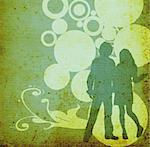 illustration of an urban scene with couple silhouettes Stock Photo - Royalty-Free, Artist: dip, Code: 400-03939950