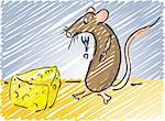 Cartoon illustration of a mouse about to eat some cheese Stock Photo - Royalty-Free, Artist: kgtoh, Code: 400-03942147