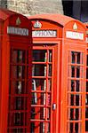 Close up of the typical red telephone's booths