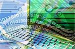 Computer technology mix - with laptop and computer elements Stock Photo - Royalty-Free, Artist: rgbspace, Code: 400-03942708