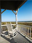 Rocking chair on porch with railing overlooking beach at Bald Head Island, North Carolina. Stock Photo - Royalty-Free, Artist: iofoto, Code: 400-03943957