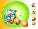 vector illustration of casino slot machine with isolated fruits Stock Photo - Royalty-Free, Artist: sahua, Code: 400-03944011