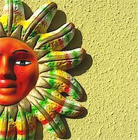 Picture of a clay mayan sun on a wall Stock Photo - Royalty-Freenull, Code: 400-03944310