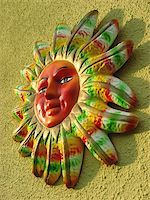 Picture of a clay mayan sun on a wall Stock Photo - Royalty-Freenull, Code: 400-03944311