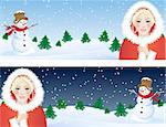 Vector illustration -  santa girl and snowman Stock Photo - Royalty-Free, Artist: Jut, Code: 400-03947712