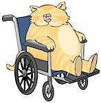 This illustration depicts a yellow cat sitting in a wheelchair. Stock Photo - Royalty-Free, Artist: caraman, Code: 400-03948449