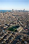 Aerial view of Wrigley Field with Chicago, Illinois skyline in background. Stock Photo - Royalty-Free, Artist: iofoto, Code: 400-03948645