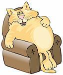This illustration depicts a large orange cat asleep in a chair. Stock Photo - Royalty-Free, Artist: caraman, Code: 400-03950203