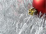 christmas design with red bauble fragment and silver tinsel background Stock Photo - Royalty-Free, Artist: DLeonis, Code: 400-03953191