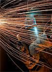 welder working at night has sparks fly at him Stock Photo - Royalty-Free, Artist: glenj, Code: 400-03955845