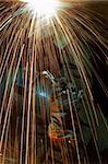 welder working at night has sparks fly Stock Photo - Royalty-Free, Artist: glenj, Code: 400-03955847