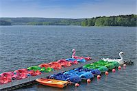 Colorful Pedal Boats, Mohnesee, North Rhine-Westphalia, Germany Stock Photo - Premium Rights-Managednull, Code: 700-03958093