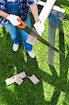 A woman sawing in a garden, Sweden. Stock Photo - Premium Royalty-Free, Artist: Robert Harding Images, Code: 6102-03959799