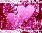 Computer designed abstract background - Valentine's day card with two harts Stock Photo - Royalty-Free, Artist: Lizard, Code: 400-03960996
