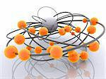 3d rendered illustration of grey wires with orange balls Stock Photo - Royalty-Free, Artist: Eraxion, Code: 400-03961397