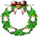 This illustration depicts a Christmas wreath with angels playing horns adorning it. Stock Photo - Royalty-Free, Artist: caraman, Code: 400-03962599