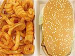 Grilled chicken burger and twister fries meal in the fast food box Stock Photo - Royalty-Free, Artist: bedo, Code: 400-03963466