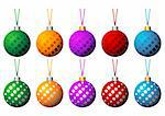 Christmas balls set with ribbons in different colors isolated over white background Stock Photo - Royalty-Free, Artist: pnog, Code: 400-03963612