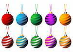 Sriped Christmas balls with ribbons in different colors isolated over white background Stock Photo - Royalty-Free, Artist: pnog, Code: 400-03963614