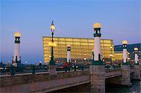 Bridge of Zurriola lit at dusk Donostia Stock Photo - Royalty-Freenull, Code: 400-03964506