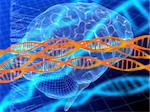 3d rendered illustration of a code, a brain and dna Stock Photo - Royalty-Free, Artist: Eraxion, Code: 400-03966148