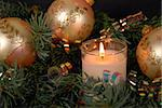 Candle light and Christmas ornaments in pine. Stock Photo - Royalty-Free, Artist: 14ktgold, Code: 400-03969671