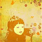 composition with girl and flying butterflies and grunge circles Stock Photo - Royalty-Free, Artist: dip, Code: 400-03970021