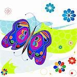 Very colorful composition with butterflies and flowers, retro style design Stock Photo - Royalty-Free, Artist: dip, Code: 400-03970109