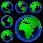 planet earth map from six views; illustration Stock Photo - Royalty-Free, Artist: dip, Code: 400-03970127