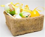 Easter eggs and chick in a cloth basket Stock Photo - Royalty-Free, Artist: devulderj, Code: 400-03970352