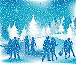 Christmas illustration; winter scene with silhouettes having fun Stock Photo - Royalty-Free, Artist: dip, Code: 400-03971173