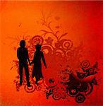 illustration with couple silhouettes and flowers composition Stock Photo - Royalty-Free, Artist: dip, Code: 400-03971175