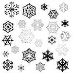 various stylized designs of snowflakes for winter illustration Stock Photo - Royalty-Free, Artist: dip, Code: 400-03971183