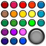 round web buttons with different shiny colors Stock Photo - Royalty-Free, Artist: dip, Code: 400-03971211