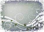 grunge winter design with foliage and snow Stock Photo - Royalty-Free, Artist: dip, Code: 400-03971217