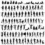 one hundred male and female silhouettes Stock Photo - Royalty-Free, Artist: dip, Code: 400-03971884