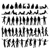 feet gymnast - 50 different highly detailed silhouettes of man Stock Photo - Royalty-Freenull, Code: 400-03971886