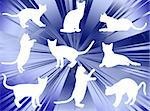 White cats silhouettes in different poses and attitudes Stock Photo - Royalty-Free, Artist: Guilu, Code: 400-03971977