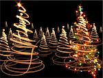 xmas tree (lights) on the black background Stock Photo - Royalty-Free, Artist: jonnysek, Code: 400-03972213