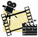 Clapboard with a camera and filmstrip Stock Photo - Royalty-Free, Artist: mercuriohm, Code: 400-03973033