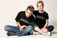 sad girls - Couple of teenagers in the studio on a white background having fun  Stock Photo - Royalty-Freenull, Code: 400-03973422