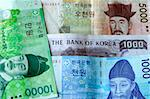 Korean Won 10000 5000 1000 bill close up detail  Stock Photo - Royalty-Free, Artist: fiftycents, Code: 400-03973873