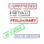 various  rubber stamps for engineering documents  Stock Photo - Royalty-Free, Artist: fiftycents, Code: 400-03973880