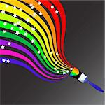 Vector - Colorful wavy / curvy abstract rainbows on a black background. Stock Photo - Royalty-Free, Artist: hfng, Code: 400-03974381