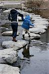 Mother and child Crossing the River Anyang in step stone. Stock Photo - Royalty-Free, Artist: fiftycents, Code: 400-03974833