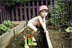 Toddler Playing in Garden